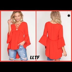 Tops - 3/4 Bell Sleeve- TOMATO